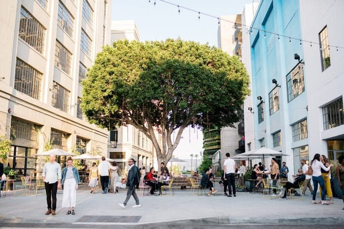 outdoor space with large tree in the middle and people milling around