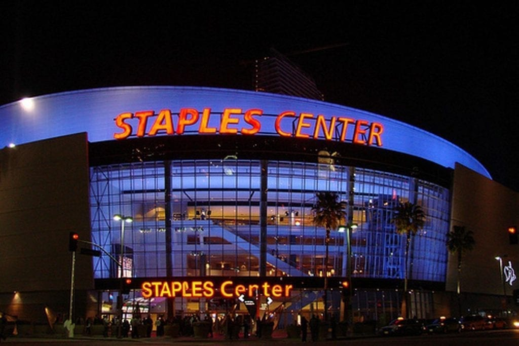 entrance of Staples Center at night