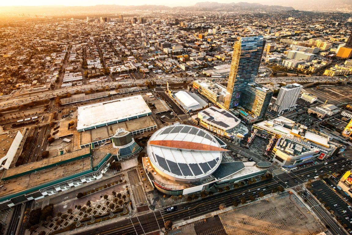 Aerial view of the Staples Center Arena at night.
